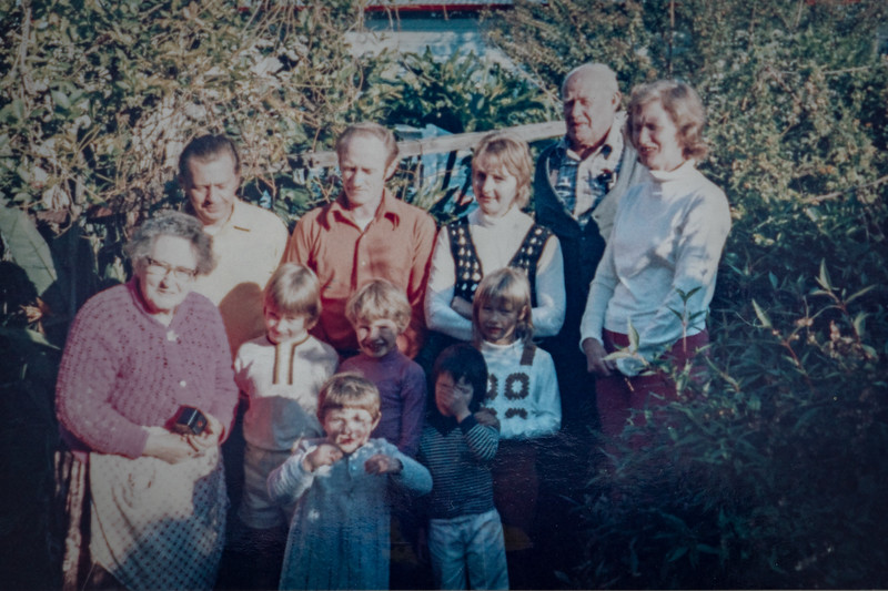 Beane Street, Gosford. 1972? Rear: Bary Coulter, Colin Holmes, Endi Holmes, Charles (Dick) Holmes, Marie Coulter (nee Holmes); Middle: Winifred (Bessie) Holmes, Anthony Holmes, David Coulter, Allison Holmes; Front: Gail Coulter, Kelly Holmes.