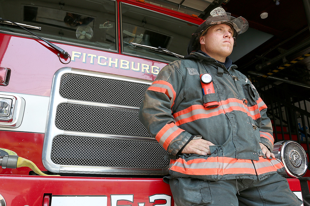 . Fitchburg Fire Lt. PJ Roy is trying to raise to buy uniform drying equipment to prevent cancer in firefighters. Here he is seen in his turnout gear that he is talking about that they need the driers for. SENTIENL & ENTERPRISE/JOHN LOVE