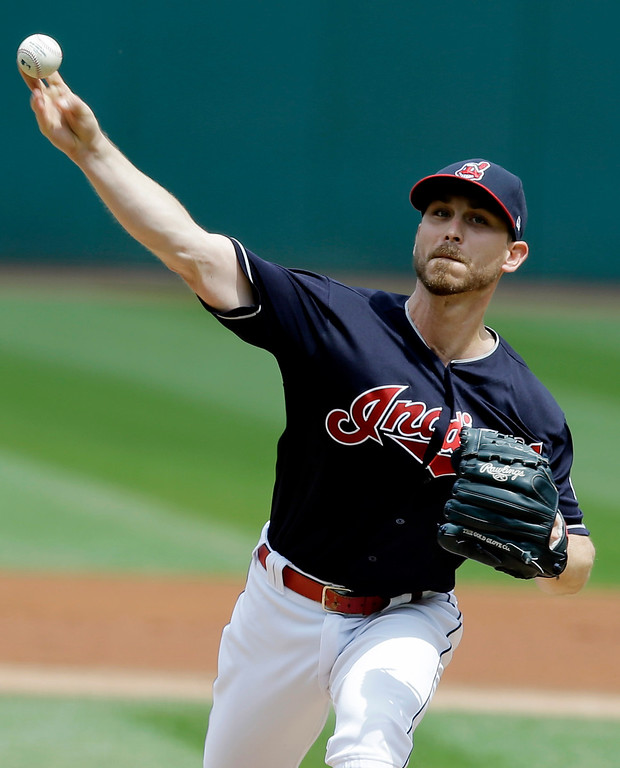 . Cleveland Indians starting pitcher Josh Tomlin delivers in the first inning of a baseball game against the Tampa Bay Rays, Wednesday, May 17, 2017, in Cleveland. (AP Photo/Tony Dejak)