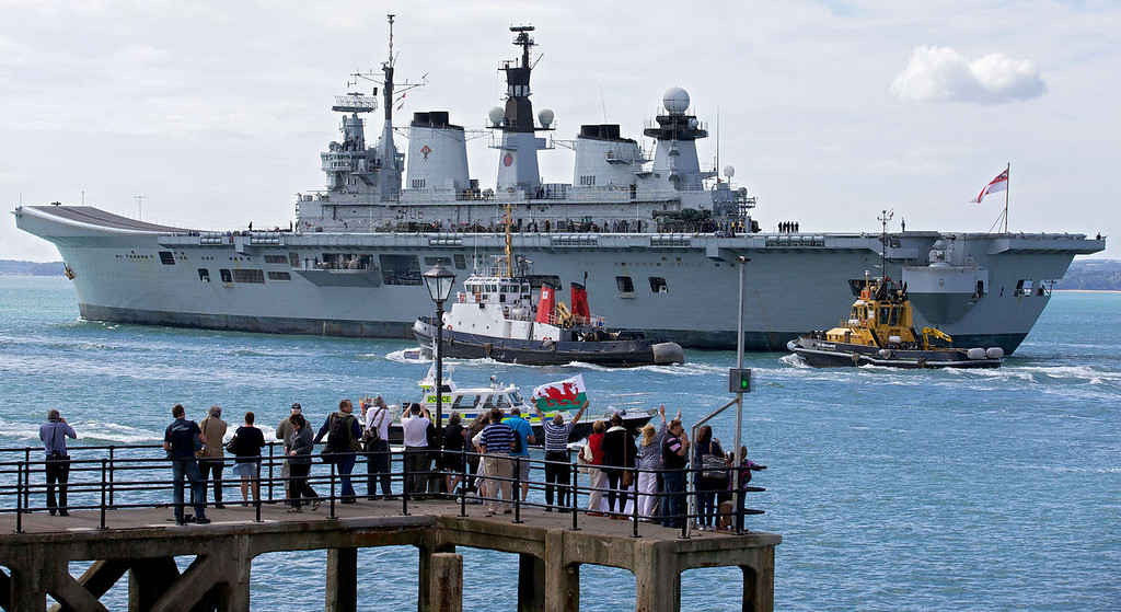 . Britain\'s helicopter carrier HMS Illustrious leaves Portsmouth navy base in southern England, on August 12, 2013. British warships began setting sail for the Mediterranean on Monday for a naval exercise that will see one vessel dock in Gibraltar, as tensions rise with Spain over the British-held territory.   ANDREW COWIE/AFP/Getty Images