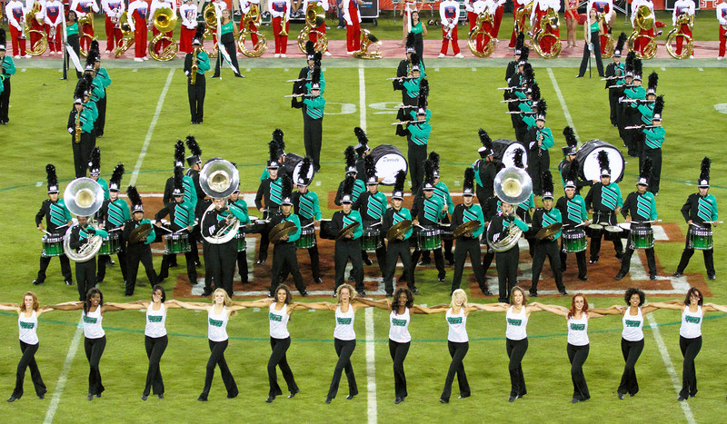 Portion of the UNT marching band and dancers