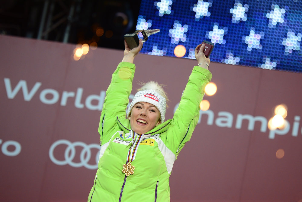 Description of . Mikaela Shiffrin of the US poses with her gold medal during the medal awards ceremony after the women's slalom at the 2013 Ski World Championships in Schladming, Austria on February 16, 2013. OLIVIER MORIN/AFP/Getty Images