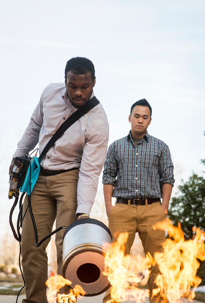 Sound-blasting fire extinguisher