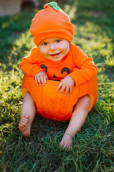 6 Mo Pumpkin Baby Onesie and Hat