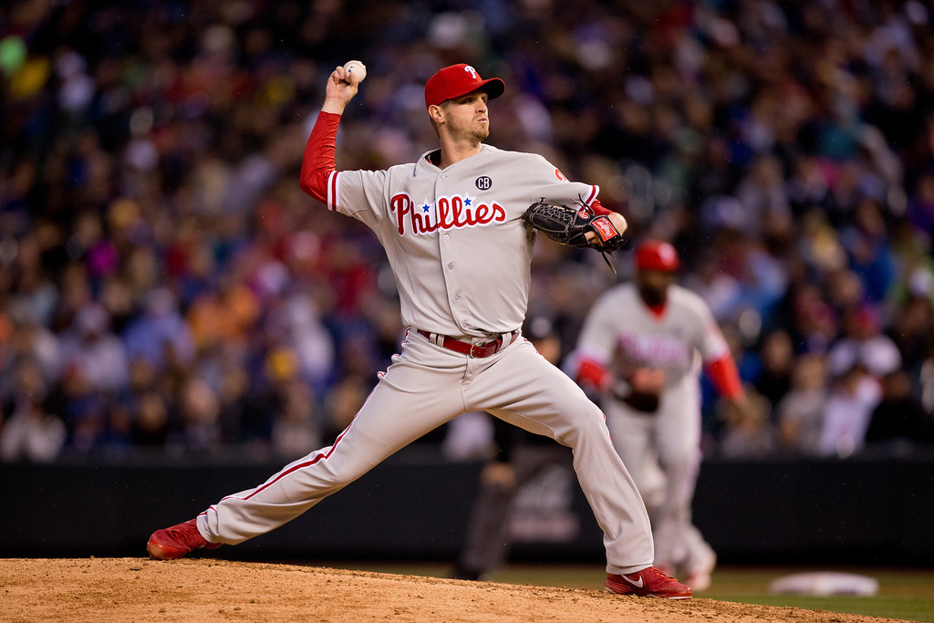 . Starting pitcher Kyle Kendrick #38 of the Philadelphia Phillies delivers to home plate during the fourth inning against the Colorado Rockies at Coors Field on April 19, 2014 in Denver, Colorado.  (Photo by Justin Edmonds/Getty Images)
