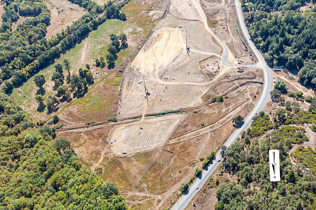 . Northern interchange view of the wick drain field; Willits bypass construction overflight Sept. 5; Pilot Mike Smith; photographer Steve Eberhard/TWN