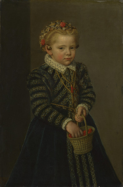 A Little Girl with a Basket of Cherries
