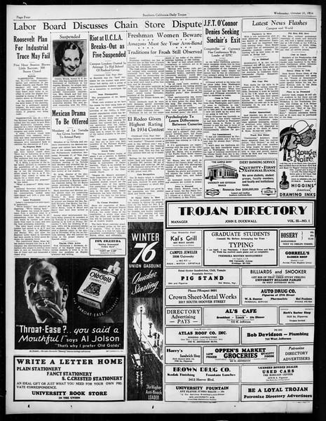 Daily Trojan, Vol. 26, No. 28, October 31, 1934