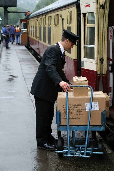 unloading cargo at the North Yorkshire Moors Railway