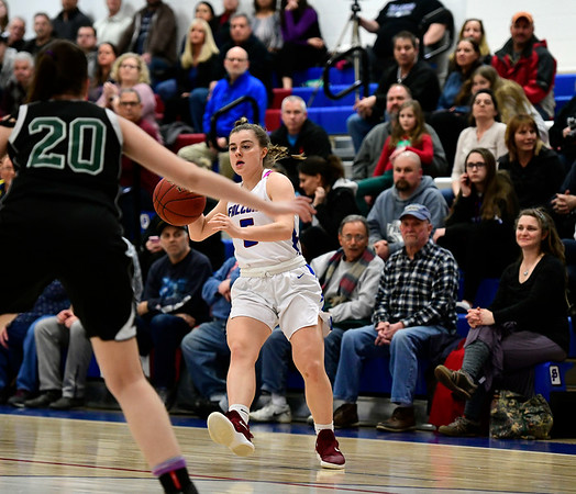 2/28/2019 Mike Orazzi | Staff St. Paul Girls Basketball's Emma Cretella (5)during the Class S Second Round State Girls Basketball Tournament with Parish Hill in Bristol Thursday night.