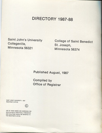 1987-1988 Student Directory