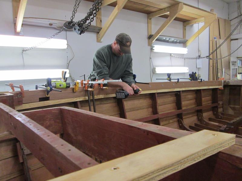 Installing the new inside gunnel starboard side.