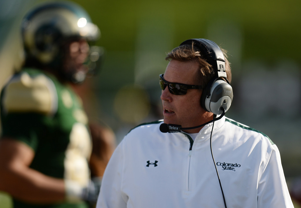 . FORT COLLINS, CO - OCTOBER 12 : Head coach Jim McElwain of Colorado State walks down the sideline during the game against San Jose State at Hughes Stadium. Fort Collins. Colorado. October 12, 2013. San Jose won 34-27. (Photo by Hyoung Chang/The Denver Post)
