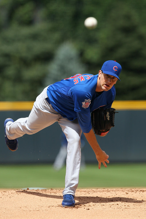 . Kyle Hendricks #6 of the Chicago Cubs delivers a pitch in the first inning against the Colorado Rockies at Coors Field on August 7, 2014 in Denver, Colorado. (Photo by Trevor Brown, Jr./Getty Images)