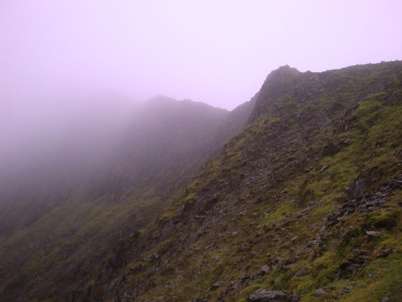 Finally, the summit ridge came into view. The summit is up to the left - somewhere.