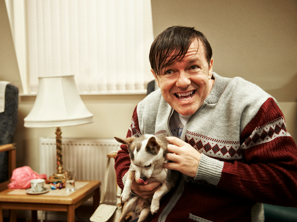 """. This image released by Netflix shows Ricky Gervais in a scene from \""""Derek.\"""" Gervais was nominated for an Emmy Award for best actor in a comedy on Thursday, July 10, 2014. The 66th Primetime Emmy Awards will be presented Aug. 25 at the Nokia Theatre in Los Angeles. (AP Photo/Netflix)"""