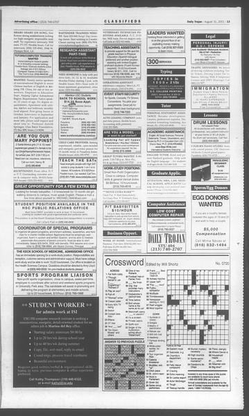 Daily Trojan, Vol. 144, No. 4, August 31, 2001
