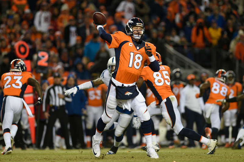 . Peyton Manning (18) of the Denver Broncos makes a 3-yard pass in the third quarter. The Denver Broncos played the Indianapolis Colts in an AFC divisional playoff game at Sports Authority Field at Mile High in Denver on January 11, 2015. (Photo by AAron Ontiveroz/The Denver Post)
