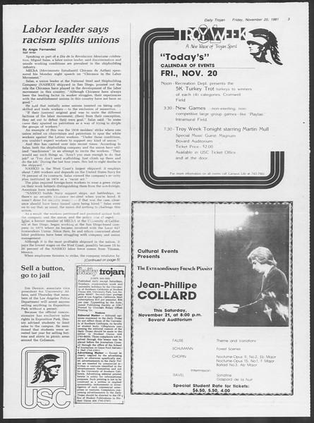 Daily Trojan, Vol. 91, No. 56, November 20, 1981