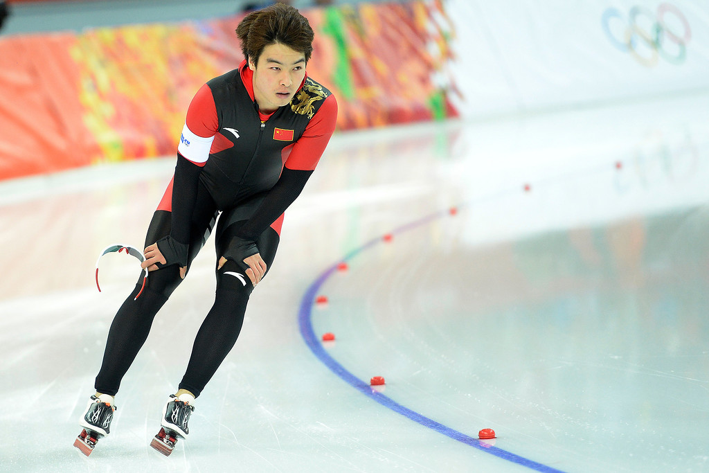 . China\'s Qiuming Bai catches his breather after race one during the speed skating men\'s 500-meter at Adler Arena. Sochi 2014 Winter Olympics on Monday, February 10, 2014. (Photo by AAron Ontiveroz/The Denver Post)