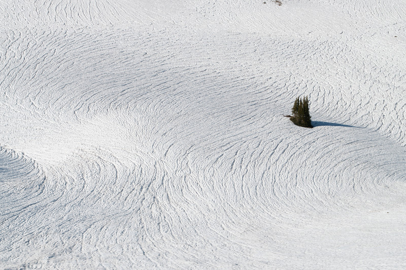 Patterns in the snow from way up high.