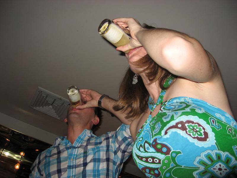Aaron and Jen doing sake bombs at Miyake's