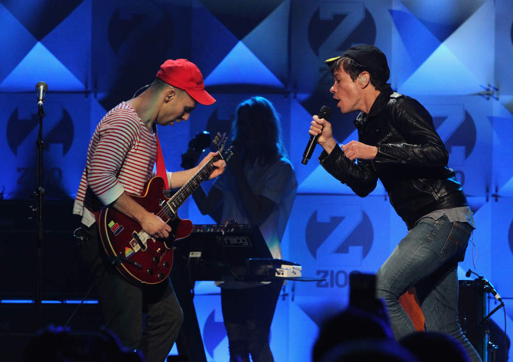 Description of . Andrew Dost and  Nate Ruess of Fun. perform onstage during Z100's Jingle Ball 2012, presented by Aeropostale, at Madison Square Garden on December 7, 2012 in New York City.  (Photo by Kevin Kane/Getty Images for Jingle Ball 2012)
