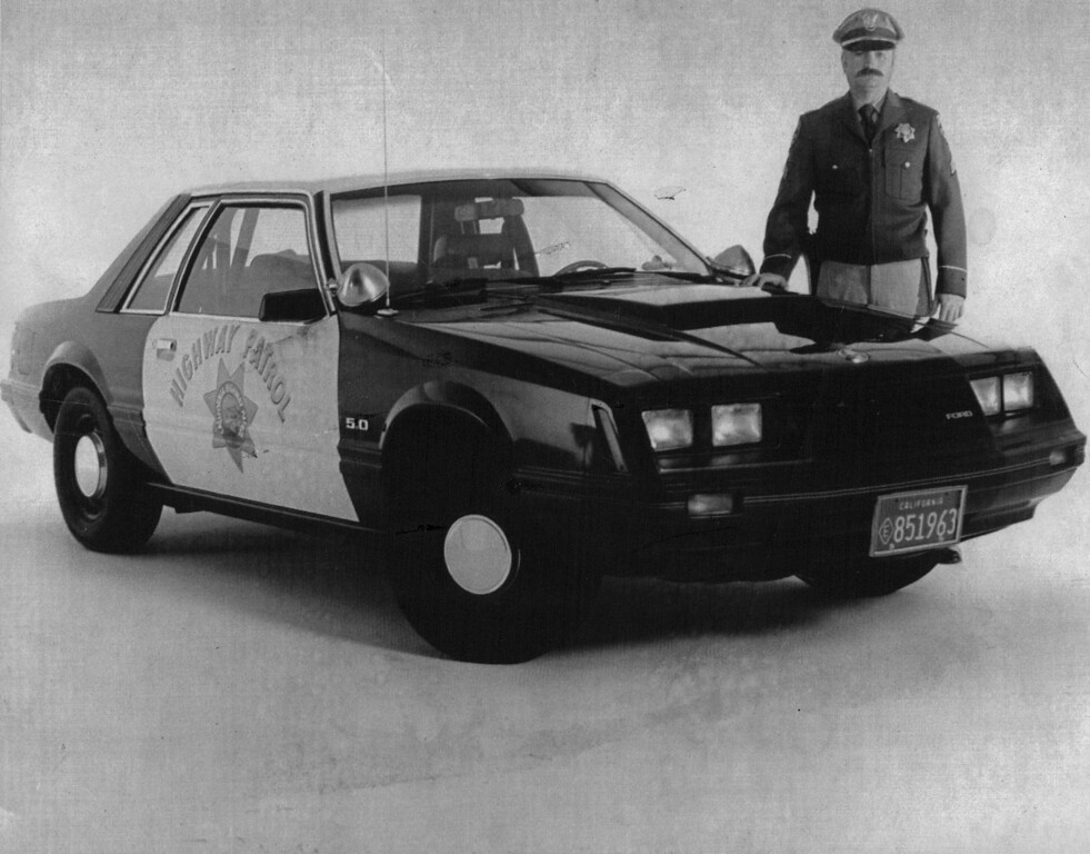. California Highway Patrol muscles up with 400 Mustang GTs which accelerate from 0-60 mph in 6,9-seconds. 1982 Credit: UPI