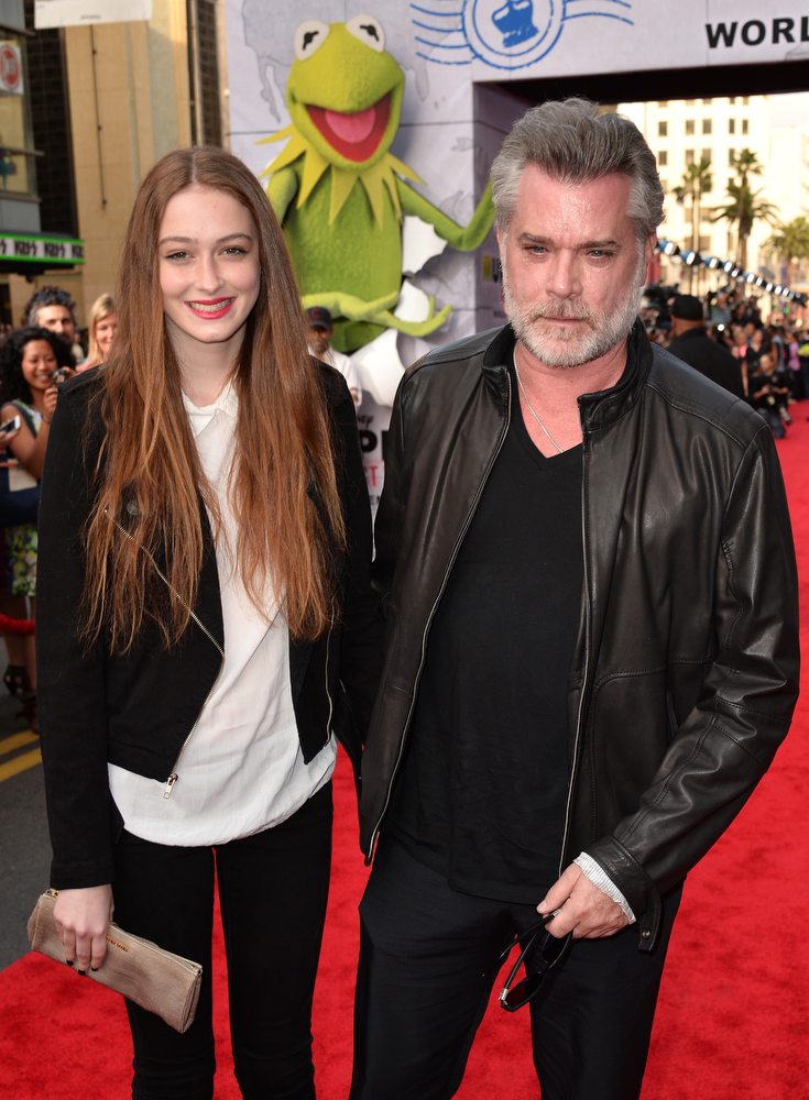 """. Actor Ray Liotta (R) and daughter Karsen Liotta arrive for the premiere of Disney\'s \""""Muppets Most Wanted\"""" at the El Capitan Theatre on March 11, 2014 in Hollywood, California.  (Photo by Kevin Winter/Getty Images)"""