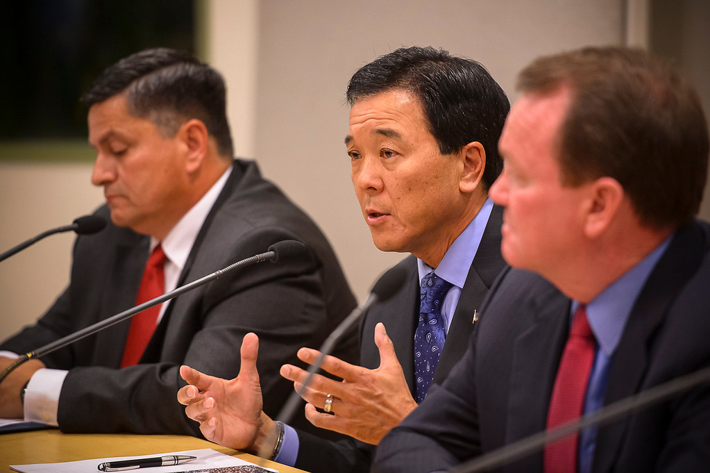 . L to R, Patrick Gomez, Paul Tanaka, Jim McDonnell, candidates for Los Angeles County Sheriff, attend a debate at the Van Nuys Neighborhood Council on Wednesday, March 12, 2014.   (Photo by David Crane/Los Angeles Daily News)