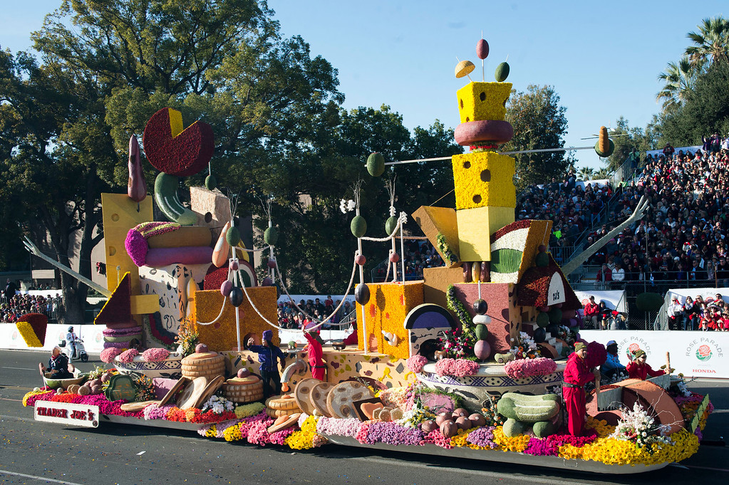 ". Trader Joe\'s ""Relish Your Dreams\"" float during 2014 Rose Parade in Pasadena, Calif. on January 1, 2014. (Staff photo by Leo Jarzomb/ Pasadena Star-News)"