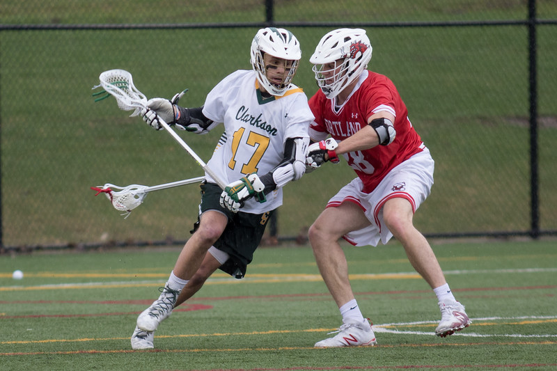 Clarkson Athletics: Men Lacrosse vs. SUNY Cortland. First quarter. Rain Storm