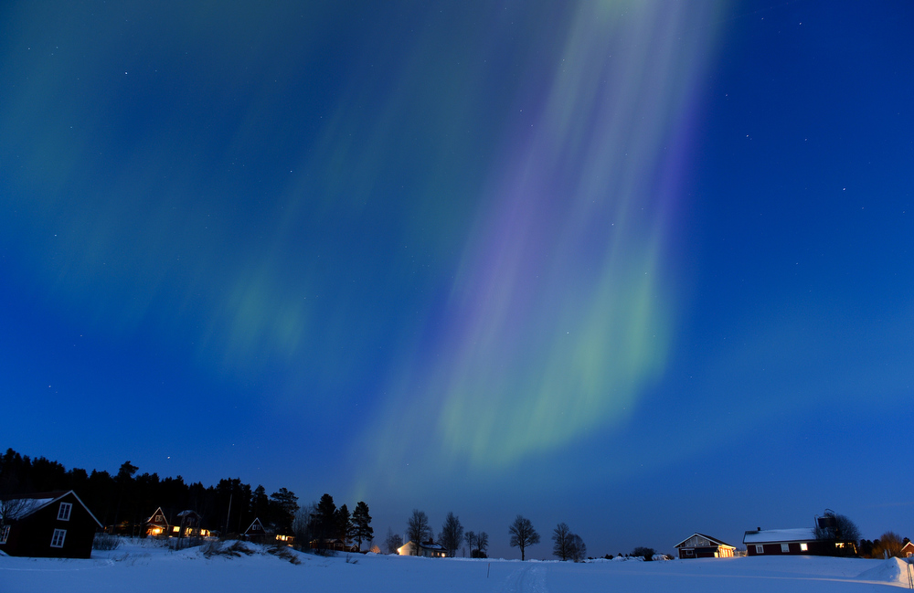 Description of . The Aurora Borealis bright up the sky at twilight on March 17, 2013 between the towns of Are and Ostersund, Sweden.  JONATHAN NACKSTRAND/AFP/Getty Images