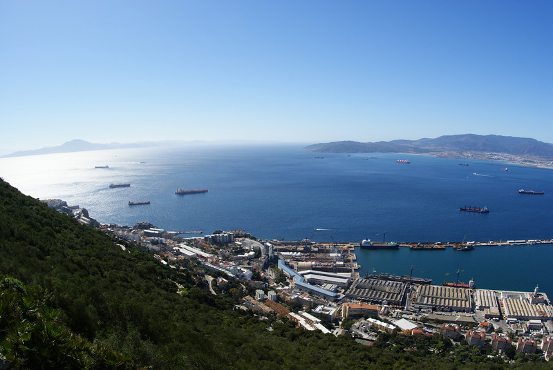Gibraltar.  To the left is Africa.  Right is Spain.  In between is the Atlantic Ocean.