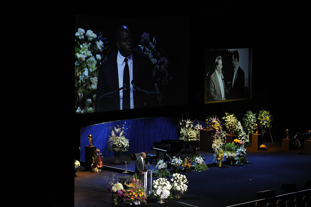 . Magic Johnson speaks.  Family, friends current and former Lakers players and coaches attended a memorial service at the Nokia Theatre for Laker owner Jerry Buss who passed away on Monday, 2/18/2013 as a result of cancer. Los Angeles, CA 2/21/2013 John McCoy/Staff Photographer