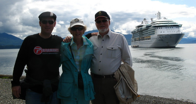 The Coates family with our ship in the background