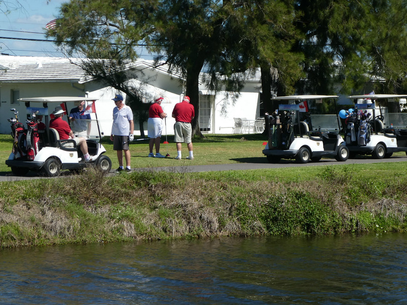 First group waiting to tee off on 2nd hole