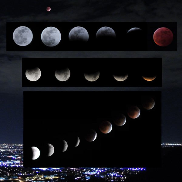 lunar eclipses over the years, most recent on top
