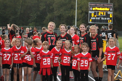 Cheerleaders and Mini Cheer @ CVCA Football