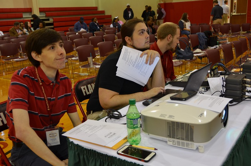 The computer guys hard at work