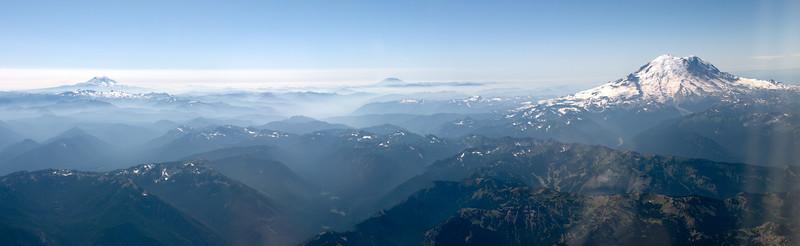 Mt Rainier, Mount St Helens and Mt Adams