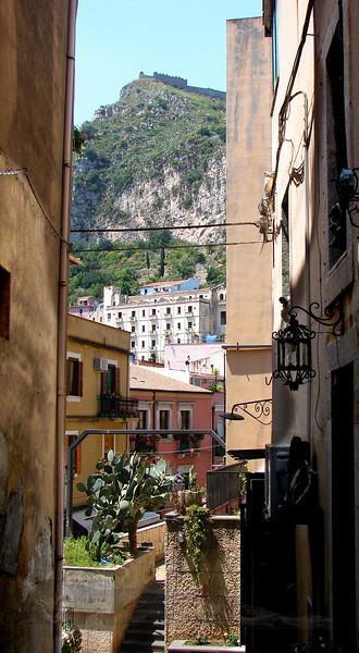 Taormina - View of a Hill Between Buildings