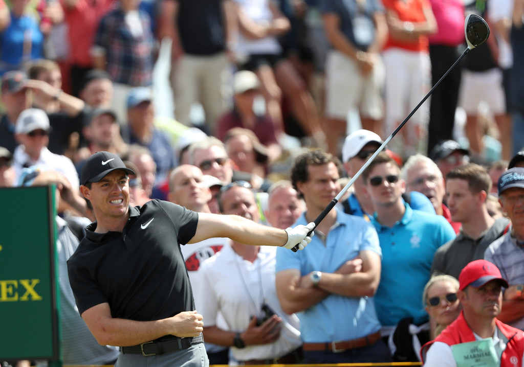. Rory McIlroy of Northern Ireland plays off the 9th tee during the first round of the British Open Golf Championship in Carnoustie, Scotland, Thursday July 19, 2018. (AP Photo/Peter Morrison)