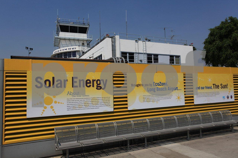 "Six ""solar trees"" generate 6,000 watts daily for the Long Beach, CA airport."