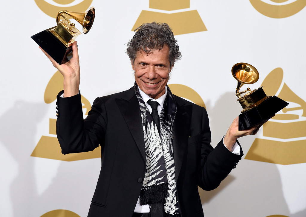 . Chick Corea poses in the press room with the awards for best improvised jazz solo for �Fingerprints� and best jazz instrumental album for �Trilogy� at the 57th annual Grammy Awards at the Staples Center on Sunday, Feb. 8, 2015, in Los Angeles. (Photo by Chris Pizzello/Invision/AP)