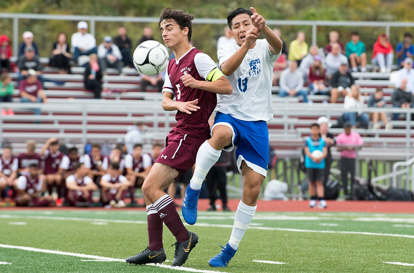 10/07/19 Wesley Bunnell | StaffrrBristol Eastern and Bristol Central played to a 1-1 tie in their match at Bristol Central High School on Monday afternoon. Bristol Central's Diego Naranjo (5) and Eastern's Jonathan Loja (18).
