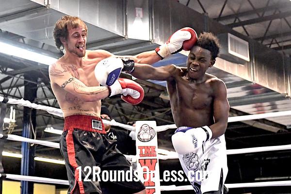 Bout 2 = Semi-Pro Boxing Richie Loew, Black + Red Trunks - vs- Elijah Sayon, White Trunks, 150 Lbs
