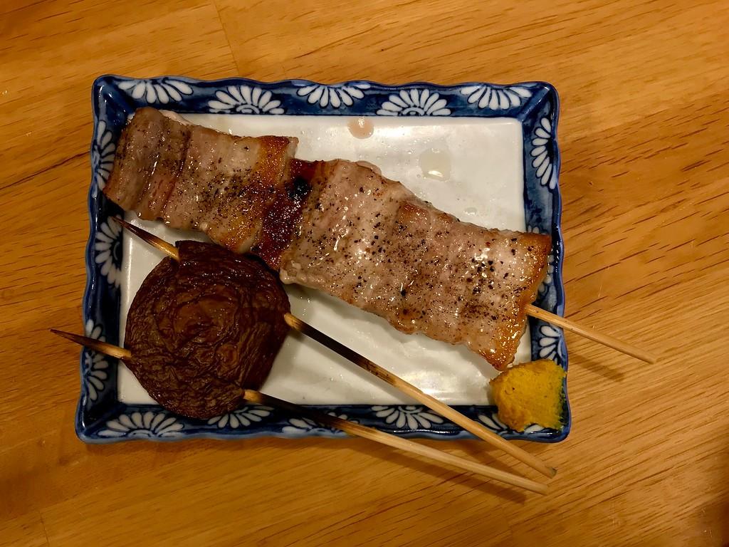Pork belly and shiitake mushroom.