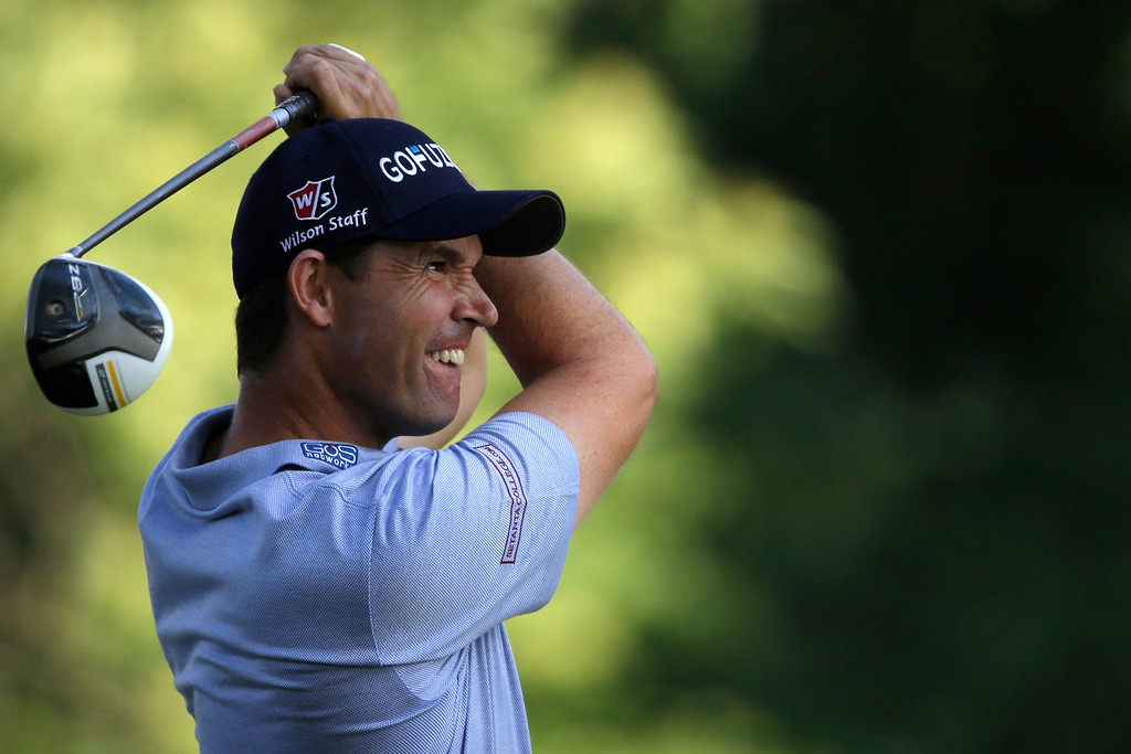 . Padraig Harrington, of Ireland, tees off on the fifth hole during the second round of the U.S. Open golf tournament at Merion Golf Club, Friday, June 14, 2013, in Ardmore, Pa. (AP Photo/Gene J. Puskar)