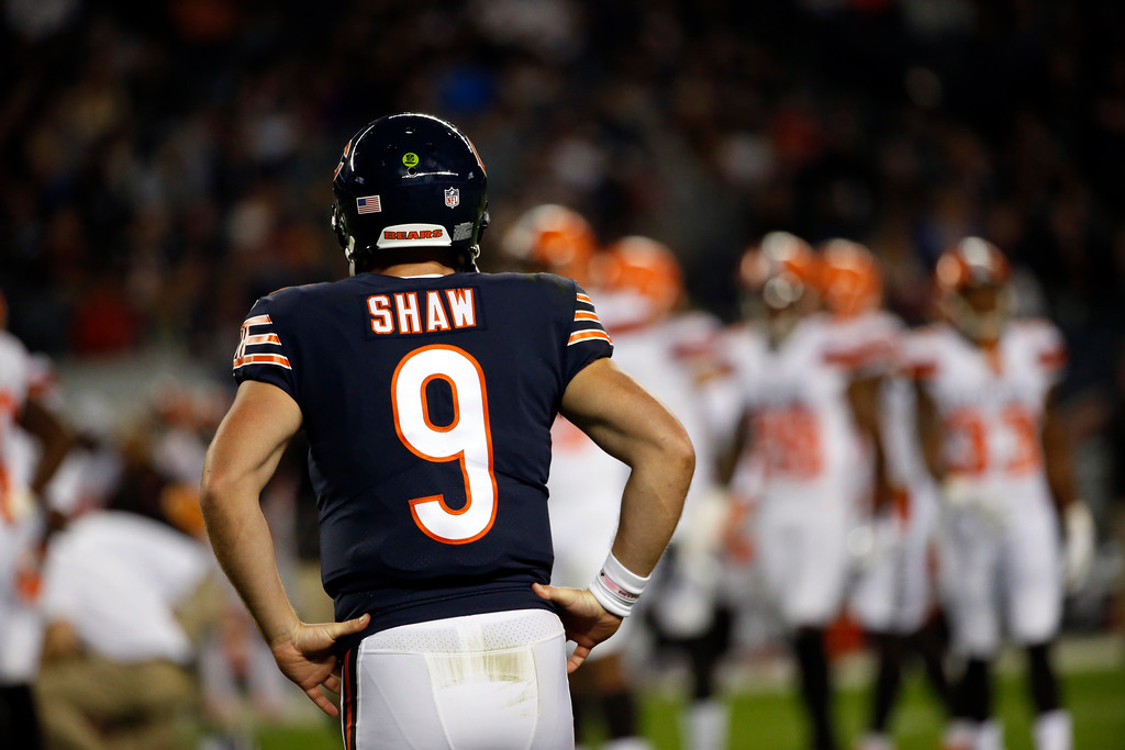 . Chicago Bears quarterback Connor Shaw (9) during the second half of an NFL preseason football game against the Cleveland Browns, Thursday, Aug. 31, 2017, in Chicago. (AP Photo/Nam Y. Huh)